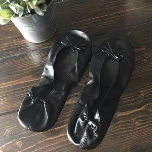 Shoes - Foldable Travel Black Ballet Flats—New!